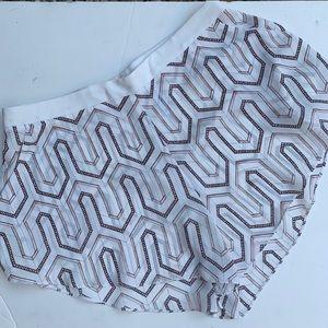 Bec & Bridge wht & brown polyester flowy shorts 4